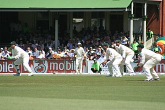 Wicket-keeper - Wicket-keeper in characteristic partial squatting position (together with slip fielders), facing a delivery from a fast bowler.