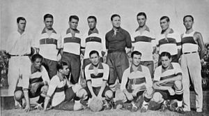 History of Club de Gimnasia y Esgrima La Plata (football) - The 1929 team that won its only Primera División title to date. Francisco Varallo is seated second, from left to right.