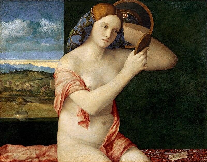 Mujer con espejo, de Giovanni Bellini (1515). Tiziano trabajó como pupilo en el estudio de Bellini, y adoptó los sensuales y ricos colores de Bellini