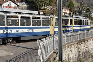 Montreux–Glion–Rochers-de-Naye Railway - Double headed motor coaches Bhe 4/8 301 and 304 at Glion
