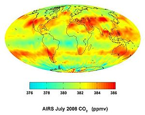 Atmospheric infrared sounder - AIRS maps the distribution of carbon dioxide in the atmosphere.