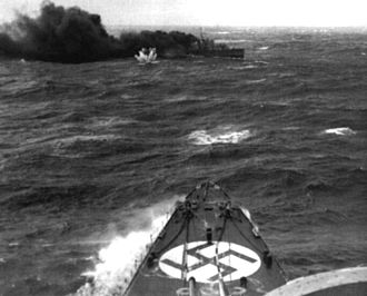 HMS Glowworm (H92) - A photograph of Glowworm taken from Admiral Hipper, 8 April 1940. Glowworm is making smoke