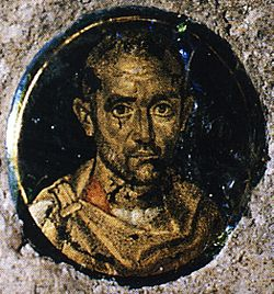 Gold-glass portrait of a man (San Panfilo catacomb) colour.jpg