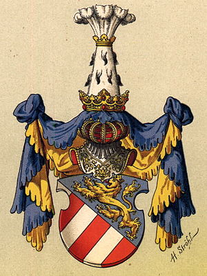 House of Gorizia - Görz coat of arms, as drawn by Hugo Gerard Ströhl, 1890