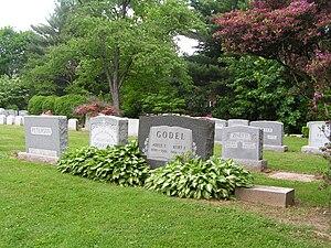Foto von Kurt Gödels Grab inmitten anderer Gräber