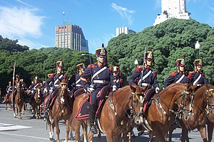 Armed Forces of the Argentine Republic - Granaderos, the cavalry unit that, among other feats, followed San Martín across the Andes in 1817 to liberate Chile and Peru