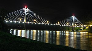 Scioto County, Ohio - A nighttime view of the newly built U.S. Grant Bridge carrying U.S. 23 over the Ohio River into downtown Portsmouth from Kentucky
