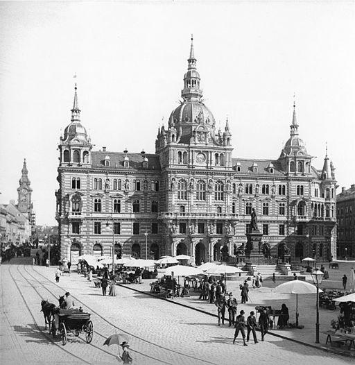 Graz - neues Rathaus mit Hauptplatz 1898
