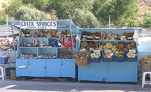 Market stall - Sponges are sold at this roadside stall near Akti Bay in the island of Kalymnos, Greece.