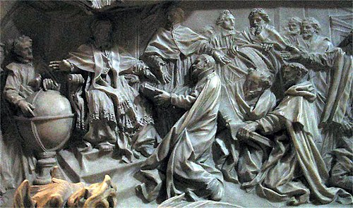 Detail of the tomb of Pope Gregory XIII celebrating the introduction of the Gregorian Calendar. Gregorianscher Kalender Petersdom.jpg
