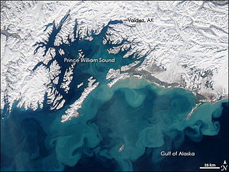 Gulf of Alaska - A view of the Gulf of Alaska from space. Notice the swirling sediment in the waters.