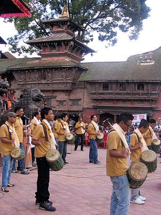 Gunla Bajan - Kansakar Gunla Bajan players at Kathmandu Durbar Square.