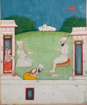 Guru Angad - Opaque watercolour on paper c 1770 Asian Art Museum