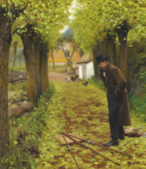 L. A. Ring by his fallen easel