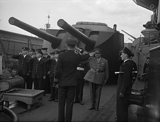 Digvijaysinhji Ranjitsinhji - Taking the salute on visiting HMS Nelson in Scotland, September 1942