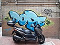 HK 上環 Sheung Wan 急庇利街 Cleverly Street blue graffiti wall n black motorcycle September 2020 SS2.jpg
