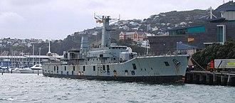 HMNZS Wellington (F69) - HMNZS Wellington prior to sinking, outside Te Papa.