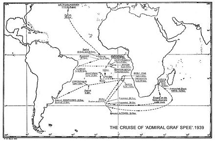 The route of Admiral Graf Spee's cruise from the British HMSO report. HMSO Graf Spee cruise.jpg
