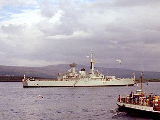 HMS Cleopatra (F28) - HMS Cleopatra at Tobermory, Mull, (1978).