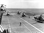 HSS-1 Seabats from HS-7 take off from USS Valley Forge (CVS-45) in 1958.jpg