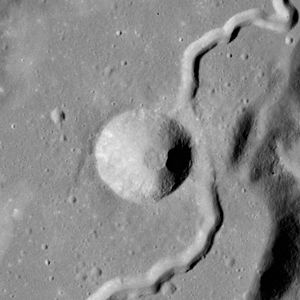 Mons Hadley - Hadley C crater, with ejecta filling in part of Hadley Rille