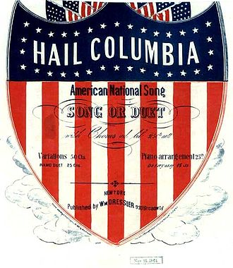 "Hail, Columbia - Cover of the 1861 sheet music for ""Hail, Columbia"""