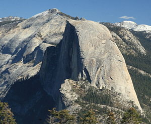 Clouds Rest - From Glacier Point, the overall arête shape of Clouds Rest (behind Half Dome) becomes evident