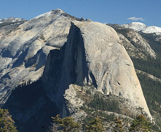 Clouds Rest - From Sentinel Dome, the overall arête shape of Clouds Rest (behind Half Dome) becomes evident