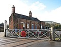 Harling Road station - station building and crossing gates - geograph.org.uk - 1702933.jpg