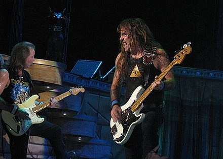 Dave Murray and Steve Harris in 2008. Harris and Murray are the only members to have performed on all of the band's albums. Harris 1.jpg