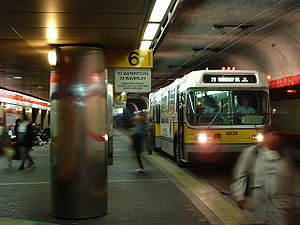 Trolleybuses in Greater Boston - A Flyer trolleybus in the upper level of the Harvard Bus Tunnel in 2003