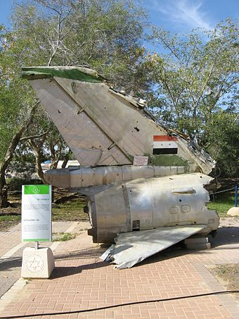 Wreckage from an Egyptian Sukhoi Su-7 shot down over the Sinai on October 6 on display at the Israeli Air Force Museum. Hatzerim 290110 Sukhoi 7.jpg
