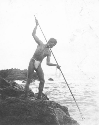 Hawaiian man spear fishing, Hana, Maui, ca. 1890