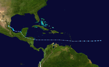 Track of a weak and disorganized tropical cyclone across the eastern Atlantic, Caribbean Sea, and Bay of Campeche