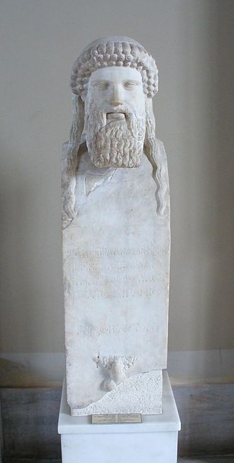 Alcamenes - Herm of Hermes, Roman copy of a late 5th century BC original, the forefront inscription states the herm was made by Alcamenes and dedicated by Pergamios, Istanbul Museums.