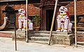 Hindu temple Guardian lion statue of Kumari House at Basantpur Durbar square in Kathmandu, Nepal-0364.jpg