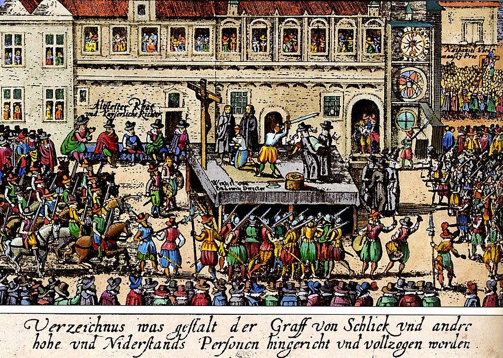 1621 : Les perdants de la bataille de la Montagne Blanche (Bila Hora) sont exécutés devant... une croix sut la place de la Vieille Ville de Prague.