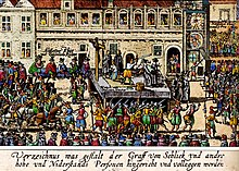 A man is being beheaded on a platform, which is defended by musketeers and surrounded by hundreds of people on a large square