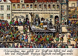 Old Town Square execution - Contemporary woodcut depicting the execution