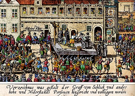 Contemporary woodcut depicting the Old Town Square execution of Protestant aristocrats in Prague, 1621 Hinrichtung auf dem Altstadter Ring.JPG