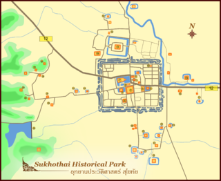 """Sukhothai Historical Park ruins of Sukhothai, literally """"Dawn of Happiness"""", capital of the Sukhothai Kingdom in the 13th and 14th centuries, located near the modern city of Sukhothai, in what is now Northern Thailand"""
