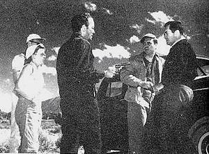 Ida Lupino - Lupino (left) directing The Hitch-Hiker, 1953
