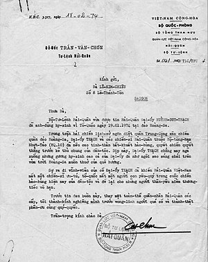 Battle of the Paracel Islands - Letter from South Vietnam's General Staff of the Republic of Vietnam Military Forces, dated 02-18-74, concerning the Battle of the Paracel Islands
