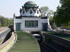 Hietzing - Stadtbahn-Hofpavillon of Hietzing (today U-Bahn train); Otto Wagner