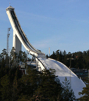 The Amazing Race 6 - Upon arriving in Oslo, teams went to the Holmenkollen ski jump, where one team member had to ride a zipline.