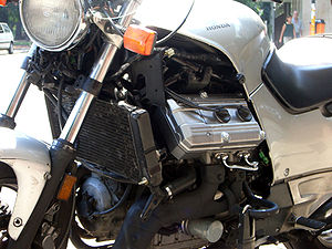 V4 engine - Longitudinal V4 engine in a Honda ST1100 with its fairing removed