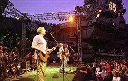The band in 1998, pictured left to right: Sonefeld (behind drum kit), Felber, Rucker, and Bryan.