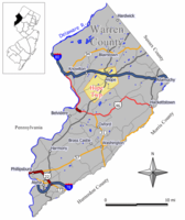 Map of Hope Township in Warren County. Inset: Location of Warren County highlighted in the State of New Jersey.
