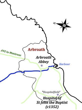 Hospital of St John the Baptist, Arbroath -  Location of the Hospital of St John the Baptist c1352 and Arbroath Abbey.