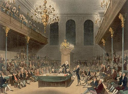 The House of Commons in the early 19th century by Augustus Pugin and Thomas Rowlandson. House of Commons Microcosm.jpg